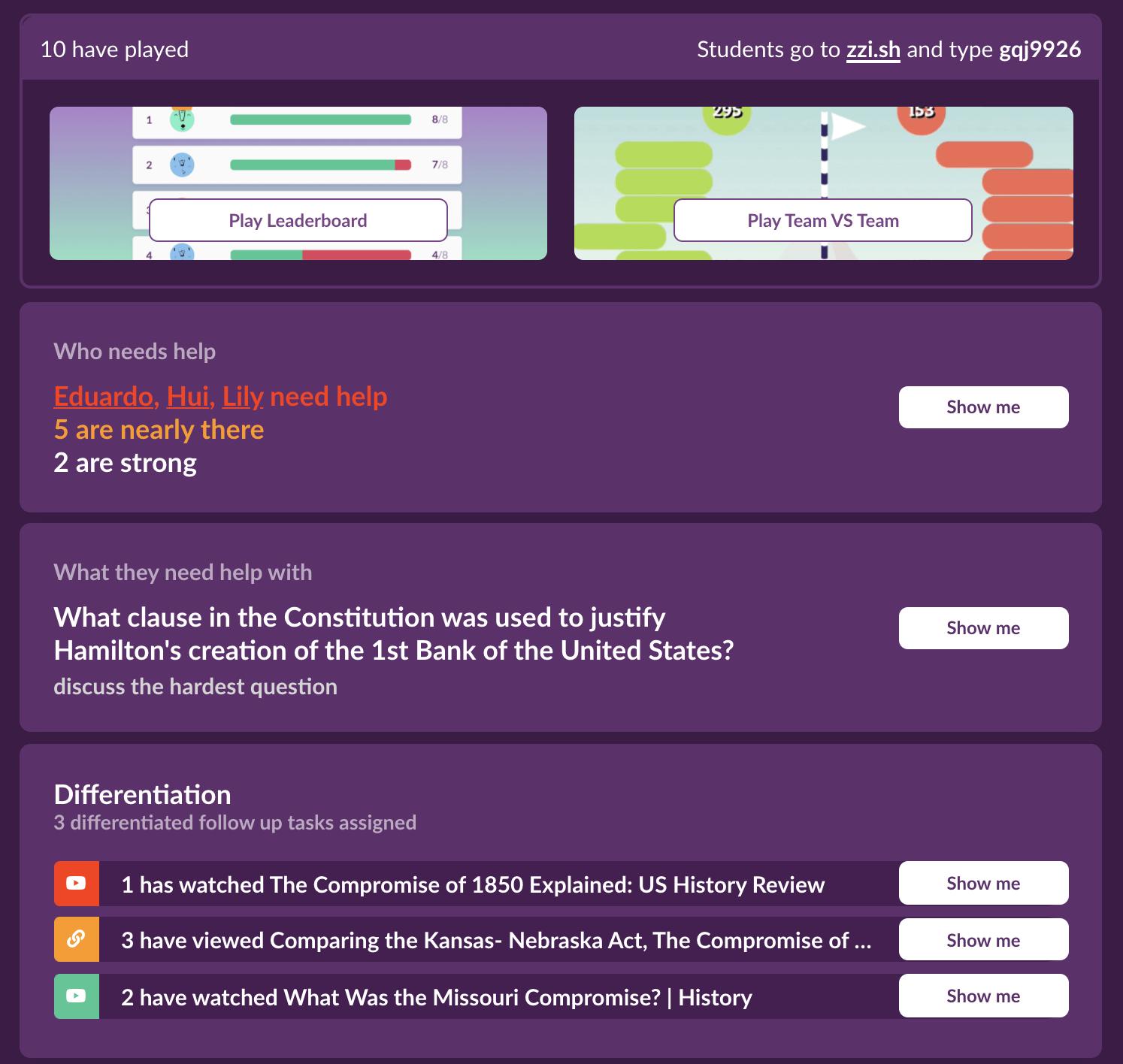 quizalize activity dashboard